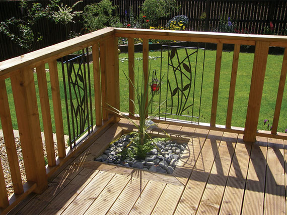 Wood Decking with Iron Inserts